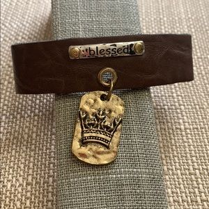 """Jewelry - Blessed brown leather bracelet 8"""""""